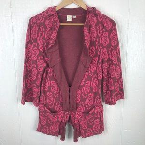 [Anthropologie] Pink Red cardigan medium